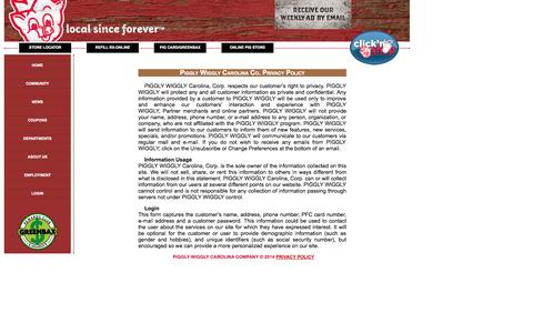 Screenshot of Privacy Page thepig.net - Piggly Wiggly Carolina Co. - Privacy Policy - captured Oct. 2, 2014