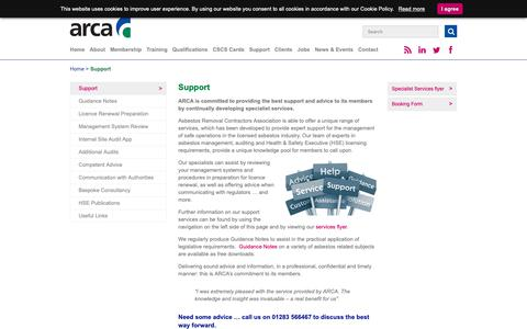 Screenshot of Support Page arca.org.uk - Range of support services from Asbestos Removal Contractors Association - ARCA - captured Oct. 4, 2018