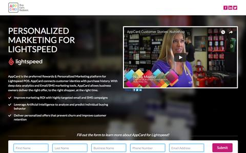 Screenshot of Landing Page appcard.com - Personalized Marketing for Lightspeed POS - captured April 27, 2018