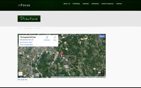 Screenshot of Maps & Directions Page augustagolfexpo.com - Directions - Augusta Golf EXPO - captured Oct. 7, 2014