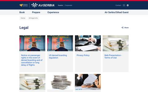 Screenshot of Terms Page airserbia.com - All legal info | Air Serbia - captured July 24, 2016