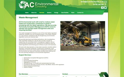 Screenshot of Services Page ac-environmental.co.uk - AC Environmental :: Waste Management - captured Nov. 19, 2016