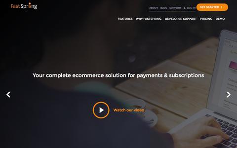 Screenshot of Home Page fastspring.com - FastSpring - Global E-Commerce Platform for Software and SaaS - captured Jan. 14, 2015