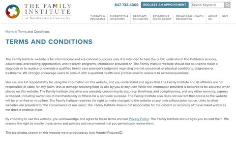Screenshot of Terms Page family-institute.org - Terms and Conditions   Family Institute: Experts in Counseling & Mental Health - captured Oct. 18, 2018