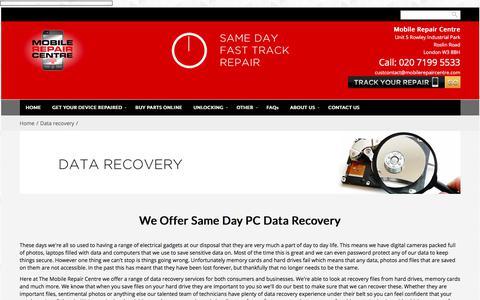 Screenshot of mobilerepaircentre.com - Data Recovery | Mobile Repair Centre - captured Sept. 22, 2017