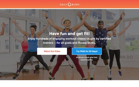 Screenshot of Landing Page dailyburn.com - Daily Burn — A Better Fit - captured Aug. 21, 2016
