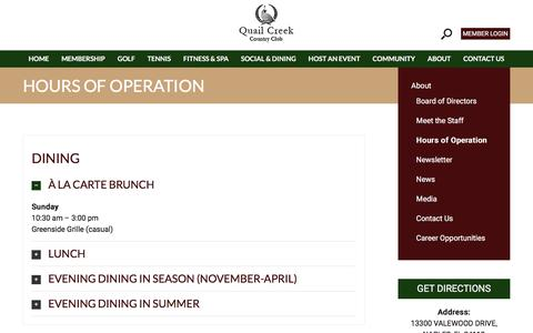 Screenshot of Hours Page quailcreekcc.com - Quail Creek Country Club | Hours of Operation | Naples, FL - Quail Creek Country Club - captured Aug. 5, 2017