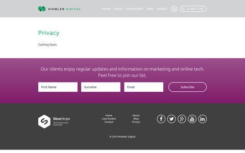 Screenshot of Privacy Page nimbler.com.au - Privacy Âť Nimbler Digital - captured Feb. 15, 2016