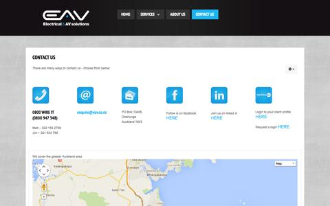 Screenshot of Contact Page eav.co.nz - Contact Us - captured Nov. 1, 2014