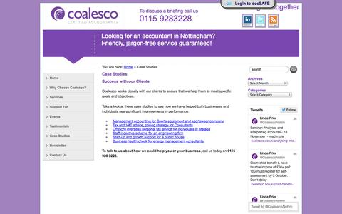 Screenshot of Case Studies Page coalesco.co.uk - Accountants Nottingham - Case Studies showing just a few successes - captured Oct. 3, 2014