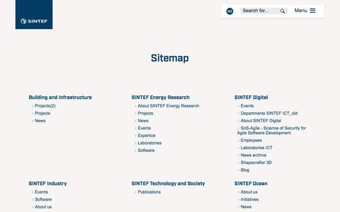 Screenshot of Site Map Page sintef.no - Sitemap - SINTEF - captured June 20, 2018
