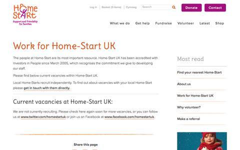 Screenshot of Jobs Page home-start.org.uk - Home Start | Work for Home-Start UK - captured Nov. 12, 2016