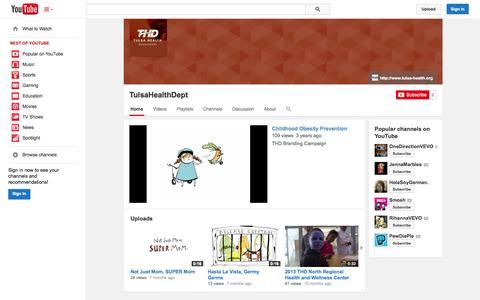 Screenshot of YouTube Page youtube.com - TulsaHealthDept  - YouTube - captured Oct. 25, 2014