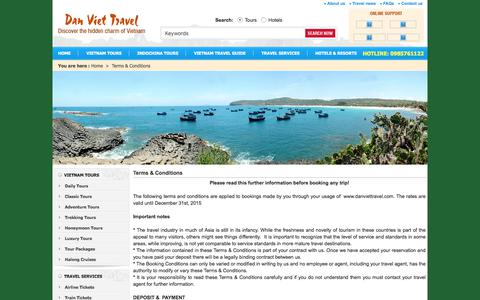 Screenshot of Terms Page danviettravel.com - Terms And Conditions - captured June 3, 2017