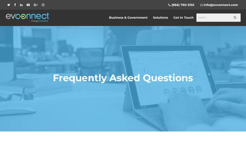Screenshot of FAQ Page evconnect.com - Frequently Asked Questions | EV Connect | EV Charging Solutions - captured July 12, 2018