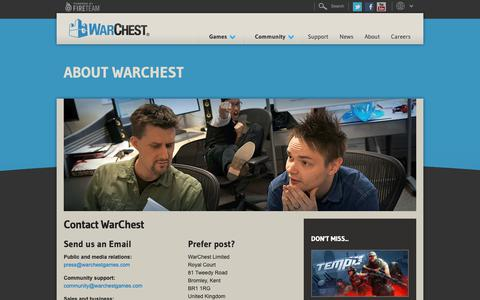 Screenshot of Contact Page warchest.com - Contact WarChest | WarChest - captured Oct. 18, 2018