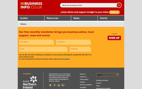 Screenshot of Signup Page nibusinessinfo.co.uk - Sign up for email updates from nibusinessinfo.co.uk | nibusinessinfo.co.uk - captured Oct. 18, 2018