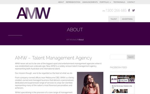 Screenshot of About Page amwicked.com.au - Talent Management Agency - captured May 28, 2017