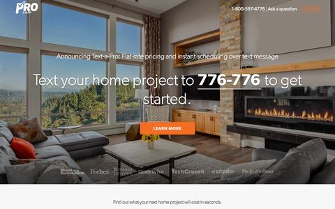 Screenshot of Home Page pro.com - Pro.com | Instant estimates and trusted reviews for any home project. - captured Dec. 2, 2015