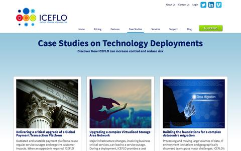 Screenshot of Case Studies Page iceflo.com - Case Studies - captured Feb. 1, 2016