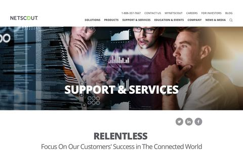 Screenshot of Support Page netscout.com - Support & Services   NETSCOUT - captured Nov. 17, 2017