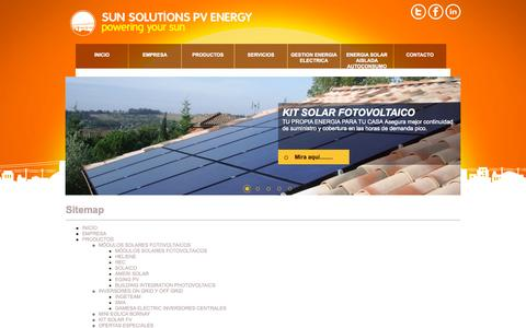 Screenshot of Site Map Page sunsolutions.es - Sun Solutions - captured Oct. 3, 2014