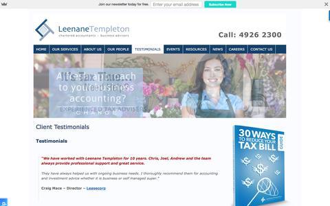Screenshot of Testimonials Page newcastle-accountants.com.au - Best Accountant in Newcastle? | Newcastle Accountants - captured Nov. 6, 2016