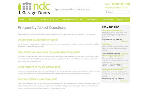 Screenshot of FAQ Page ndcgaragedoors.co.uk - Frequently Asked Questions   NDC Garage DoorsNDC Garage Doors - captured Oct. 7, 2014