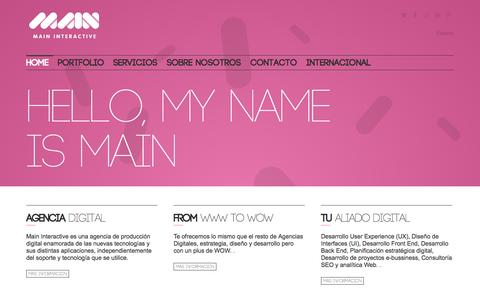 Screenshot of Home Page maininteractive.es - Main Interactive Agencia digital - Main Interactive - captured Jan. 27, 2015