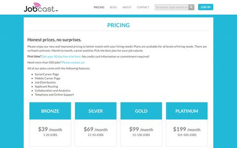 Screenshot of Pricing Page jobcast.net - Pricing : Post Jobs on Facebook – Social Recruiting - captured Feb. 11, 2016