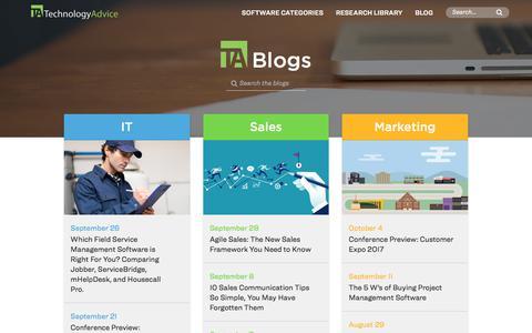 Screenshot of Blog technologyadvice.com - The TechnologyAdvice Blog - captured Oct. 6, 2017