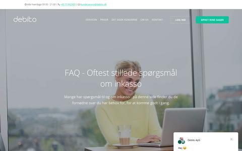 Screenshot of FAQ Page debito.dk - Debito ApS siger… - captured Oct. 8, 2018