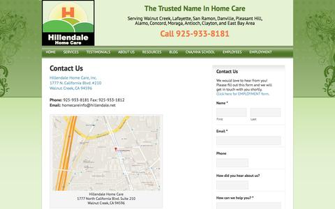 Screenshot of Contact Page hillendale.net - Elderly Care in Walnut Creek CA - captured Nov. 8, 2016