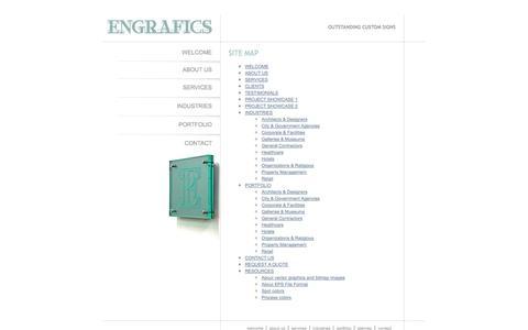 Screenshot of Site Map Page engrafics.com - Engrafics - Custom Signs & Signage - New York NY - captured Oct. 3, 2014