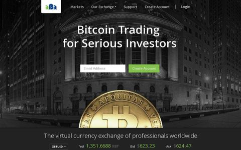 Screenshot of Home Page itbit.com - itBit | Bitcoin Exchange, Buy & Sell Bitcoins in USD/EUR/SGD - captured July 11, 2014