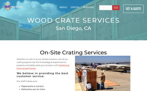 Screenshot of Services Page valleybox.com - Wood Crate Services - captured Oct. 18, 2018