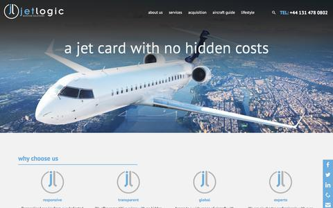 Screenshot of Home Page jet-logic.com - The Private Jet Charter & Helicopter Charter Specialist - captured Oct. 16, 2017