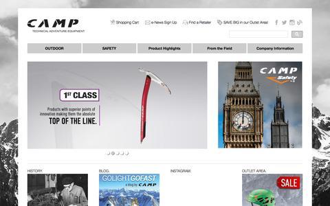 Screenshot of Home Page camp-usa.com - CAMP USA – CAMP Technical Adventure Equipment - captured Oct. 12, 2015