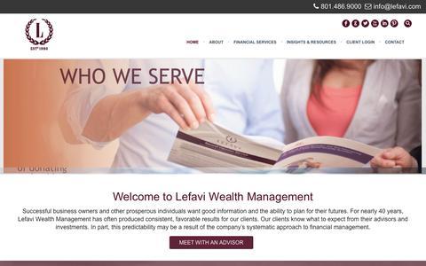 Screenshot of Home Page lefavi.com - Lefavi Wealth Management - captured Jan. 28, 2016