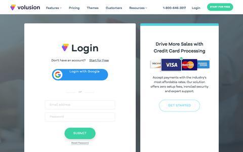 Screenshot of Login Page volusion.com - Login Form - captured June 22, 2018