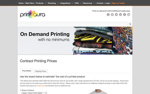 Screenshot of Pricing Page printaura.com - Pricing for DTG T-Shirt Printing  On Demand Fulfillment | Print Aura - DTG Printing Services - captured July 21, 2018