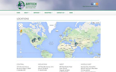 Screenshot of Contact Page Locations Page airtechenv.com - LOCATIONS | Airtech Environmental Services - captured Oct. 23, 2014