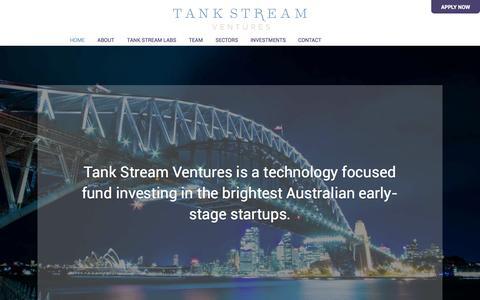 Screenshot of Home Page tankstream.vc - Tank Stream Ventures - captured Oct. 1, 2014