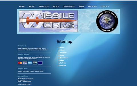 Screenshot of Site Map Page missileworks.com - Missile Works Corporation - Home - captured June 30, 2018