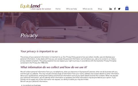 Screenshot of Privacy Page equitylend.com.au - Contact us | Brisbane | EquityLend - captured Aug. 13, 2017
