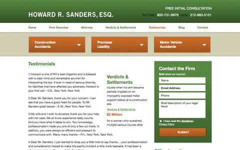 Screenshot of Testimonials Page injurylawofnewyork.com - Testimonials | Howard R. Sanders, Esq. | Manhattan - captured Oct. 3, 2014