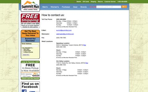 Screenshot of Contact Page summithut.com - Contact Us | SummitHut.com - captured Sept. 24, 2014