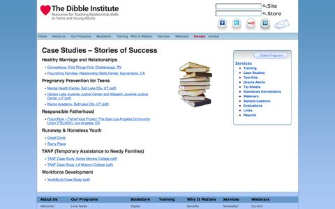 Screenshot of Case Studies Page dibbleinstitute.org - Case Studies - Stories of Success - The Dibble Institute - captured Aug. 1, 2016