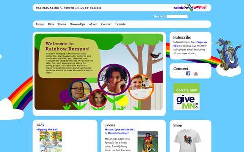 Screenshot of Home Page rainbowrumpus.org - Welcome to Rainbow Rumpus! | Rainbow Rumpus - captured Jan. 26, 2015