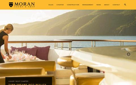 Screenshot of Home Page moranyachts.com - Luxury Yacht Brokerage - Sales, Charter, Construction - Moran Yacht & Ship - captured Sept. 22, 2018